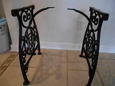 Ornate Antique cast iron legs Table Base Industrial Machine Age NICE