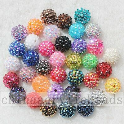 100pcs Assorted Colors Acrylic Resin Rhinestone Round Ball Chunky Beads 10-22MM