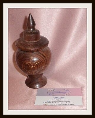 Vintage India Small Carved Sheesham Wood Timber Jar Pot ~ Estate Collectable