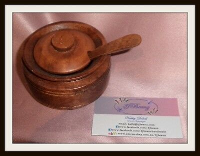 Vintage Phillippines Small Carved Wood Timber Jar Pot ~ Estate Collectable
