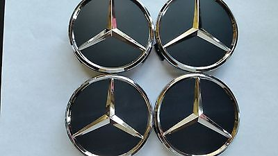 4 pcs wheel emblem center hub caps mercedes benz black for Mercedes benz wheel cap emblem