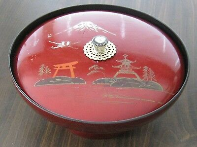 "Vintage Asian Lacquered Wooden Covered Divided Musical Serving Dish 4"" x 9"""