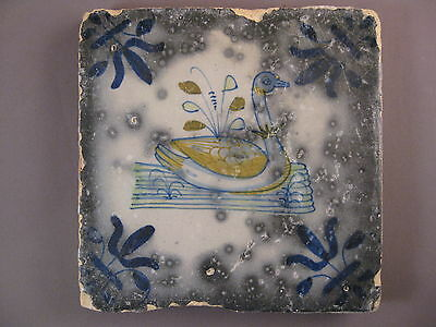 rare Antique Dutch Polychrome Bird Tile misfired pottery 17th -- free shipping