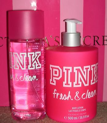 (2) @ Victoria's Secret Pink Fresh & Clean Body Lotion and Body Mist ~ New