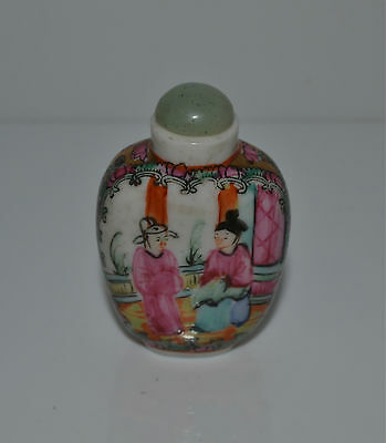 Chinese Rose Medallion Porcelain Snuff Bottle Early 20th C Republic Period