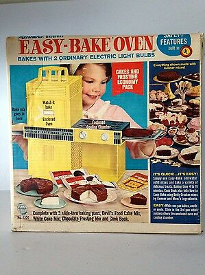 Vintage 1960's Original Kenner Easy Bake Oven w/ Original Box and Pans Works