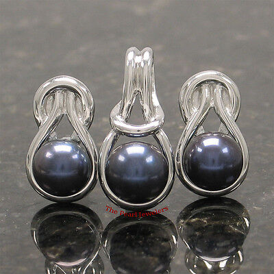 Sterling Silver 925 Love Knot; Black Cultured Pearls Stud Earrings & Pendant Set