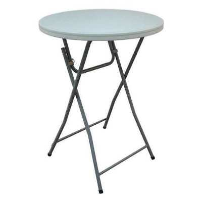 "Round Folding Cocktail Table, 32""Dia. 43-1/2""H, White, 12F622"