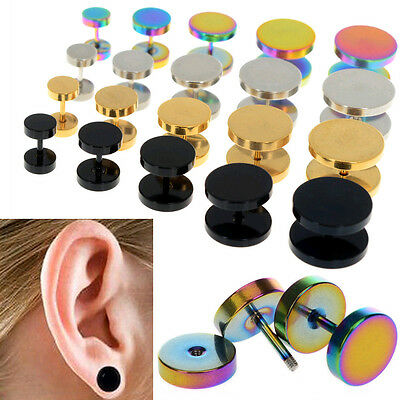 2Pcs of Fake Ear Plugs Cheater Faux Gauges Stainless Steel Gauges Body Piercing