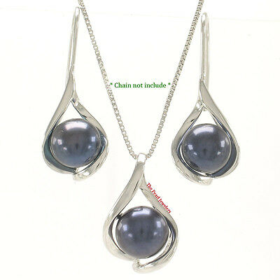 Sterling Silver 925 Wave Shape, Black Cultured Pearls Earring and Pendant Set