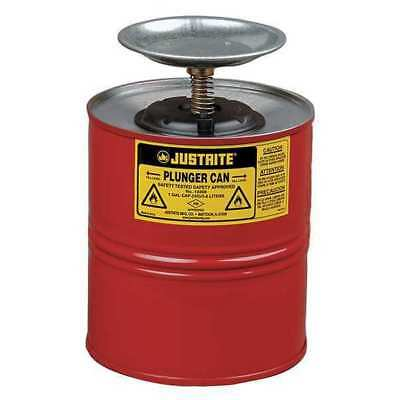 Plunger Can,1 Gal.,Galvanized Steel,Red JUSTRITE 10308