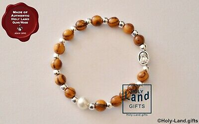 Olive Wood Bracelet Mini Rosary Silver Beads And Cross Pearl Bead Holy Land