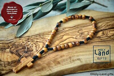 Olive Wood Olivewood Anglican Rosary Prayer Beads Brown Rope Handmade Bethlehem