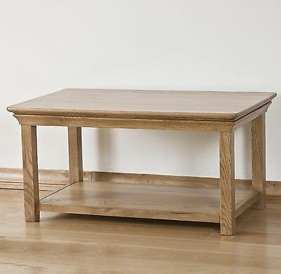 Lourdes solid oak french furniture coffee table with magazine shelf