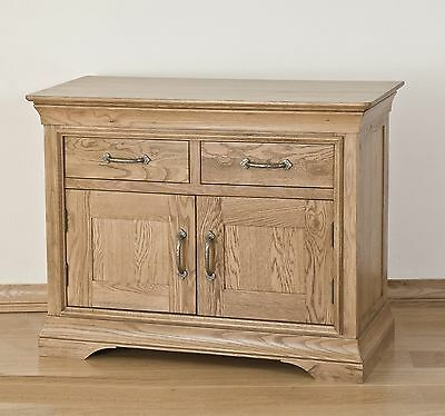Lourdes solid oak french furniture small 2 door 2 drawer sideboard