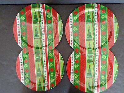Christmas Plastic Dinner Plates Green Red Tree Flowers Set Of Four Winter New & Christmas Plastic Dinner Plates Green Red Tree Flowers Set Of Four ...