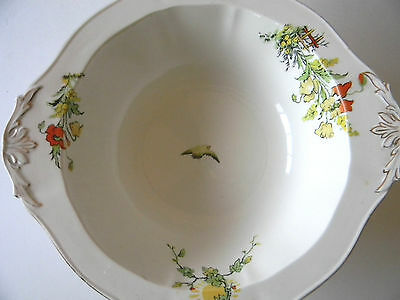 """ALFRED MEAKIN FLORAL GOLD TRIMMED SERVING BOWL 9"""" YELLOW FLORAL ENGLAND"""