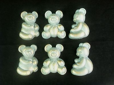 1988 HOMCO 6 Country Blue Tiny Teddy Bear Wall Hanging Accents Vintage Used
