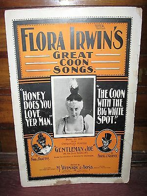 "1895 FLORA IRWIN C**N SONG SHEET MUSIC ""HONEY DOES YOU LOVE YER MAN"""