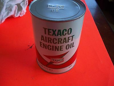 Texaco Vintage Aircraft Engine Oil Can (full), Very Good, 5-68, SAE40,Free Ship