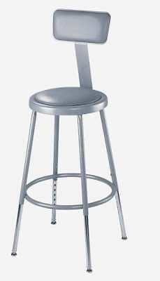 Gray Stool With Padded Seat and Backrest, 6418HB, National Public Seating