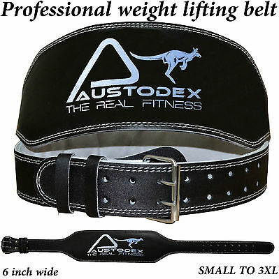 Austodex Leather Weight lifting bodybuilding back support weightlifting Belt 6""