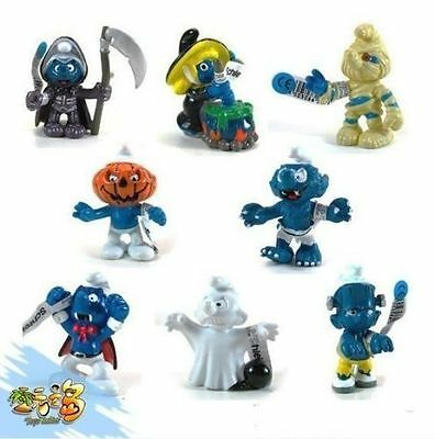 New 8 PCS The Smurfs Papa Smufette Briany Halloween Collection Figures