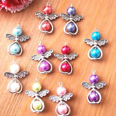 10-20 Mixed Angel Charms Pendant Metal Heart Round Pearl Beads Silver Wings