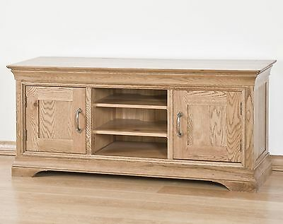 Lourdes solid oak french furniture widescreen TV DVD cabinet stand unit