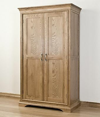 Lourdes solid oak french furniture full hanging double ladies wardrobe