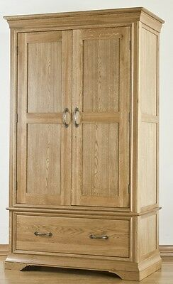 Lourdes solid oak french furniture double gents wardrobe with drawer