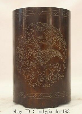 "5"" Chinese Dynasty Palace Bronze People Lion Ball Flower Brush Pot pencil vase"