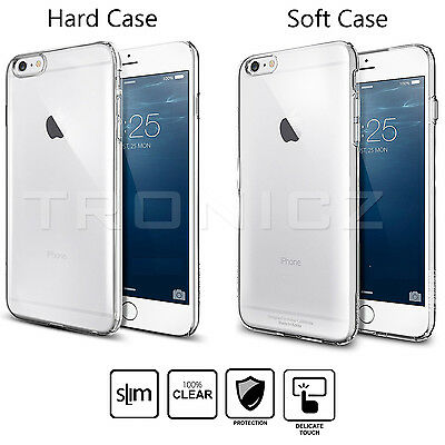 Ultra Slim Crystal CLEAR Hard Soft Gel Case Cover for Apple iPhone 6 & 6 Plus