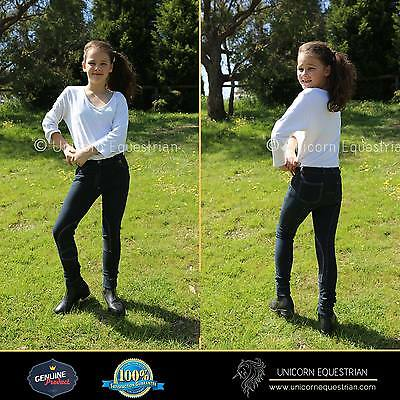 Denim Look Navy Blue Super Stretchy Kids Jodhpurs Breeches Sizes Avail. 4 to 14