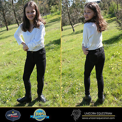 Denim Look Black Super Stretchy Kids Jodhpurs Breeches Sizes Avail. 4 to 14
