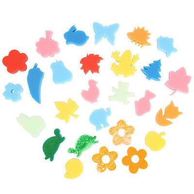 24pcs Different Shapes Children Crafting Painting Sponge Stamp CA