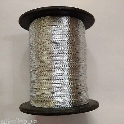 40 gm Spool - White Thread Twisted with Silver Lurex - Crochet/Sewing/Embroidery