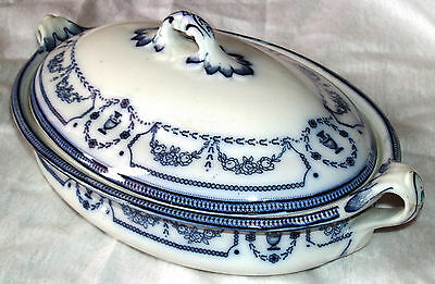 ANTIQUE BLUE AND WHITE CETEM WARE MALING TUREEN  IN FAIRLY GOOD CONDITION