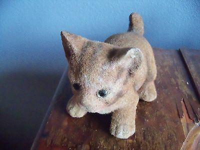 Antique Bobble Head Nodding Felt Ceramic Tabby Cat Primitive