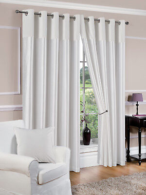 White Eyelet Lined Curtains Derwent choice of sizes
