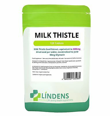 Milk Thistle Seed Extract Tablets 2000mg TRIPLE PACK 360 tablets 80mg Silymarin