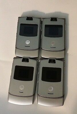 Lot of 4 Motorola V3 Cingular Silver All Cell Phones Power Up
