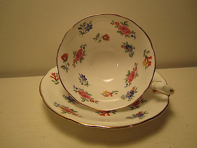 AYNSLEY ENG CHINA TEA CUP&SAUCER PINK WHITE BLUE  VERY PRETTY!!!!