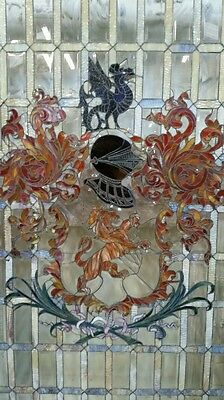 """Antique Stained & Beveled Glass Window H84"""" x W55"""" Knight Coat of Arms Beautiful"""
