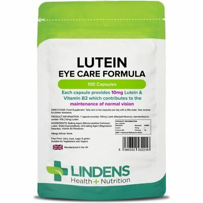Lindens Lutein tablets 10mg 100 Capsules Quality Natural Health Supplement