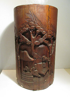 VINTAGE / ANTIQUE HAND CARVED CHINESE BAMBOO BRUSH POT