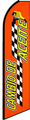 CAMBIO DE ACEITE Auto Repair Oil Change Swooper Flag Feather Bow Banner Sign