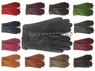 Ladies Soft Real Genuine Leather Fur Lined Gloves Small Medium Large Buttons