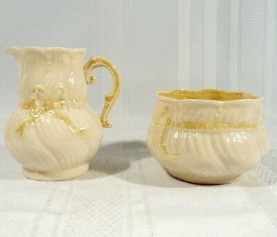 BELLEEK CREAM SUGAR BOWL + Leaf DISH plate  SWIRL RIBBON & BOW 3rd Black Mark