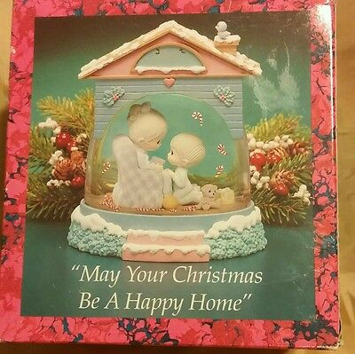 "Precious Moments Christmas Water Dome ""May Your Christmas Be A Happy Home"" RARE"